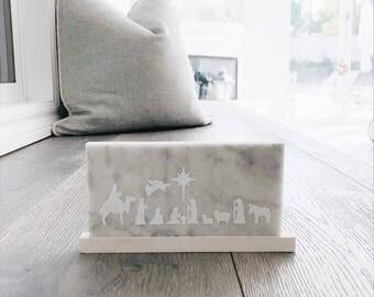 NATIVITY | Carrara Marble Sign