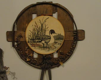 rustic duck wall hanging, cabin style decor. hunting decorationgift for him