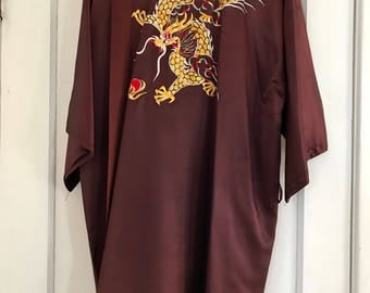 Vintage chocolate brown Robe with dragon embroidery from Hong Kong, China