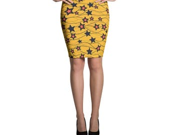 Star Yellow Pencil Skirt