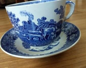 English Scenic Staffordshire Tea Cup Set
