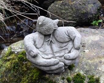 Bird Bath Feeder Bird In Hand Stone Garden Ornament Cast Water Decor Gift