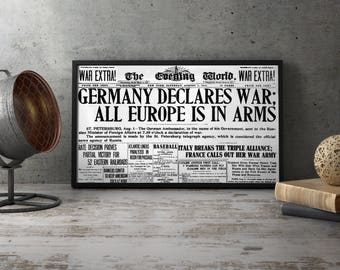 "WW1 Newspaper reproduction ""Germany Declares War"" , wwi, world war one, first, europe, propaganda, print, wall art poster decorations, decor"