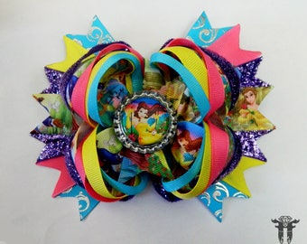 Colorful Belle Beauty and the Beast Stacked Over The Top Boutique Hair Bow 6 inches XL Birthday
