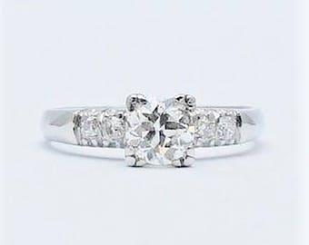 Platinum Art Deco Diamond Solitaire Engagement Ring