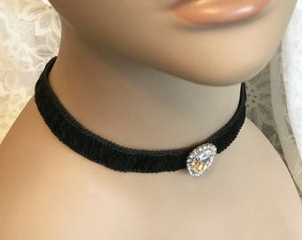 Black Velvet Choker Necklace with Large Crystal