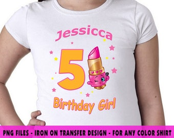 Shopkins Iron On Transfer , Shopkins DIY Transfer , DIY Shopkins Girl Birthday Shirt , Personalize , Any Name , Any Age , Digital Files