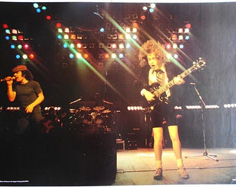 AC/DC Angus Young Brain Johnson Australian Heavy Metal Legends Very Rare Original Early 1980's Vintage Colour POSTER