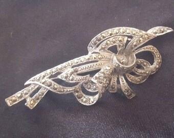 Vintage marcasite gemstone brooch