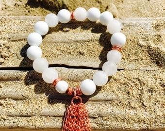 White beaded bracelet, stretch bracelet, stack bracelet, gemstone, boho bracelet, bracelet for women, charm tassel bracelet, birthday gift