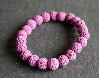 Spiritual Lava Rock Healing Diffuser Yoga Bracelet Light Weight Dyed Pink