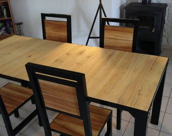 4 chairs industrial style dining table