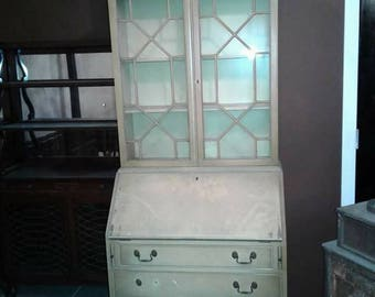 Authentic Vintage French Provincial Drexel Style Highboy China Hutch Secretary Desk Cabinet Cabriolet Legs White Wood OffWhite