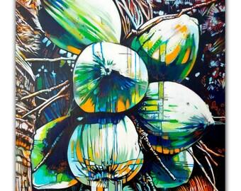 TROPICAL FRUIT 1,  digital print on paper or canvas, original painting by artist Fernando Mora
