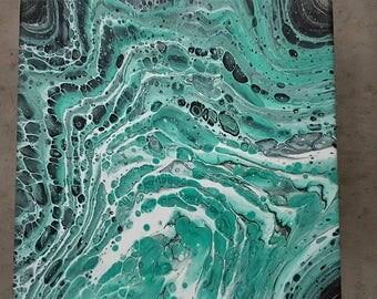 SURF original fluid acrylic pour painting turquoise