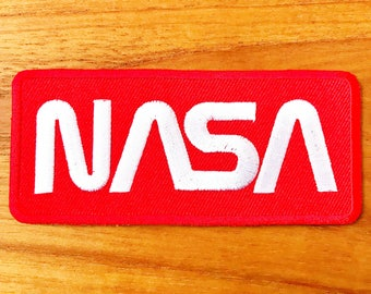 NASA Logo White/Red Color Embroidered Iron on Patch