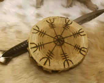 Helm of Awe - Wood Disk - Alter Tile - Asatru - Rune - Ægishjálmr- Yule Ornament - Pagan