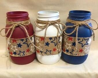 Painted mason jar, Patriotic Mason Jars, red white blue mason jars, twine, burlap with stars, Memorial Day, Labor Day, Independence Day