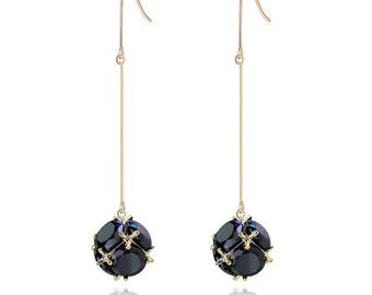 Blue quartz drops earrings