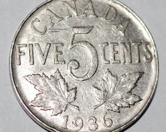 Canada 1936 5 Cents George V Canadian Nickel