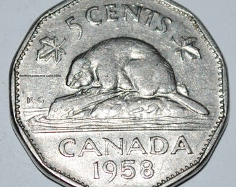 Canada 1958 5 Cents Elizabeth II Canadian Nickel Five Cent