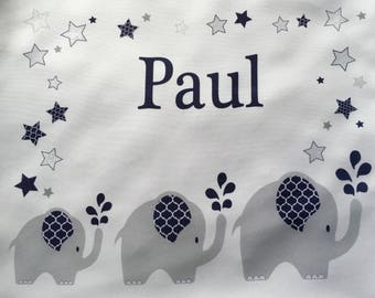 Personalized Turn-/Sportbeutel with name for children motif Elephant blue, boy/girl