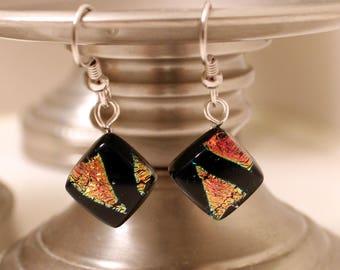 Dichroic Glass Earrings // Hypoallergenic // Nickel Free