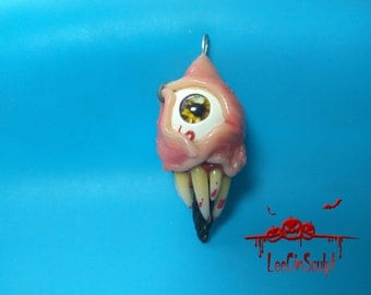 Creepy teratoma, hand made, polymer clay, keychains, pendant, suspension, creepy, horror