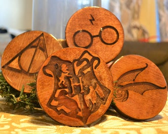 """You're a Wizard Harry - Set of 4 Harry Potter Coasters 3.75"""""""