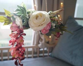 Rosie - Mobile, Baby Mobile, Flower Chandelier, Floral Wreath, Nursery, Decor, Baby Girl