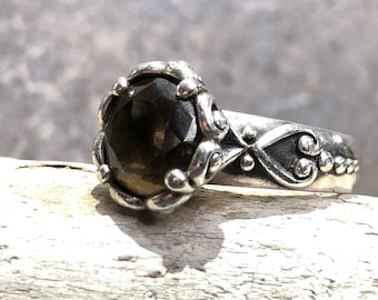 Vintage Smoky Topaz and Sterling Silver Ring Size 7.5