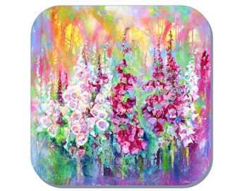 Foxgloves  - Flower Coaster (Corked Back). From an original Sheila Gill  Painting
