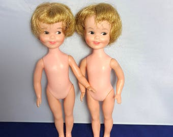 Vintage lot of 2 Deluxe Reading Penny Brite Dolls no clothes 8""