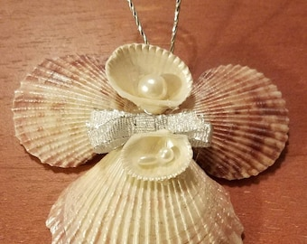 Hand crafted medium shell angel Christmas ornament