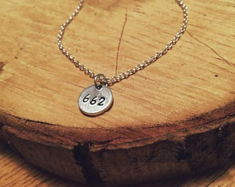 Area code disc necklace