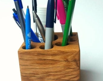 Wooden desk tidy. Solid oak desk organiser. Desk storage. Chunky desk tidy.