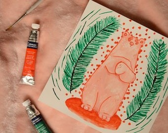 Pine Polar Bear Painting