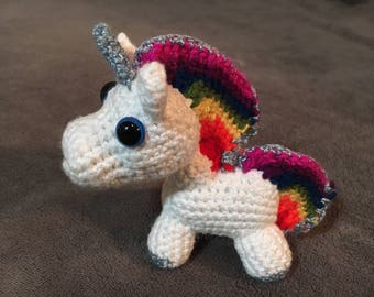 Tiny Rainbow Unicorn Amigurumi