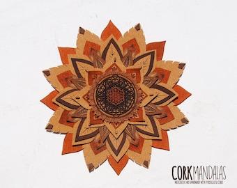 Cork Mandala - Fire Flower
