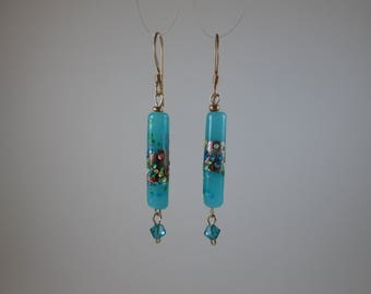 "Vintage Bead ""Confetti"" Blue Earrings with Gold"