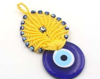 Yellow Color Evil Eye Macrame - Handmade Turkish Evil Eye Wall Decor Bead - New Home Gift - Evil Eye Macrame Wall Decor