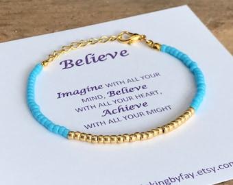 Turquoise & GOLD Seed Beaded Friendship Bracelet, Believe Inspirational Message Card, Boho Bracelet