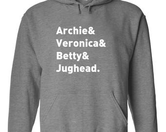 "Riverdale TV Show ""Character Names - Archie Betty Veronica & Jughead."" Hoodie"