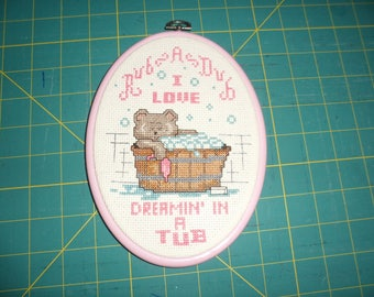 Rub A Dub I LOVE DREAMIN' IN A Tub Cross Stitch Picture