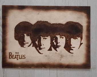 The Beatles Pyrography Silhouette