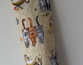 Grocery bag holders - Plastic bag holders - Kitchen organizer - Fabric bag dispenser - Cats on the Beach