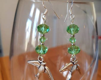 Green Glass Bead Bird Drop Earrings