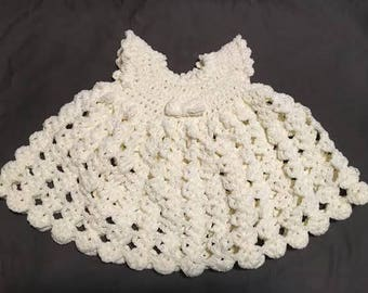 Crochet Baby Dress - cream (3-6 months)