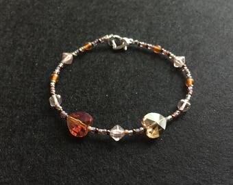 Bronze heart bead bracelet
