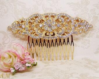 Gold Hair Comb, Bridal Hair Comb, Wedding Hair Comb, Hair Accessories, Wedding Hair Piece, Rhinestone Hair Comb, Gold Headpiece